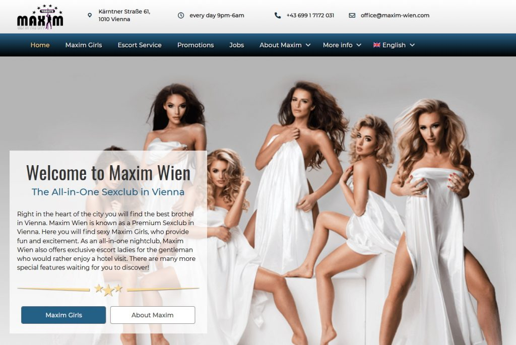 Sexclub Maxim Wien's website in 2019