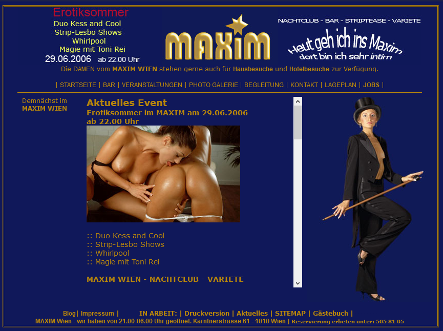 Sexclub Maxim Wien website in 2006