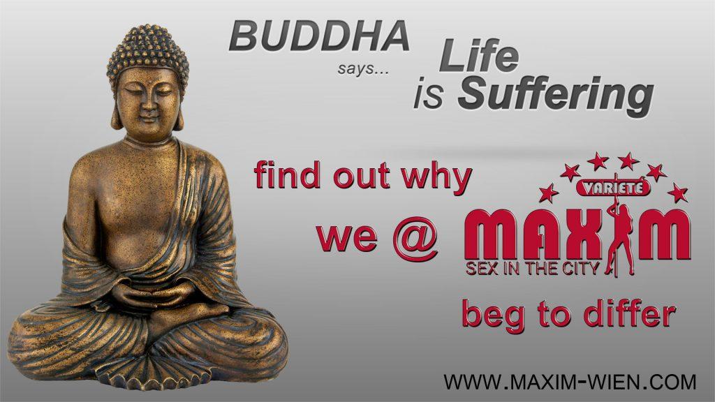 Buddha banner of Nightclub Vienna Maxim