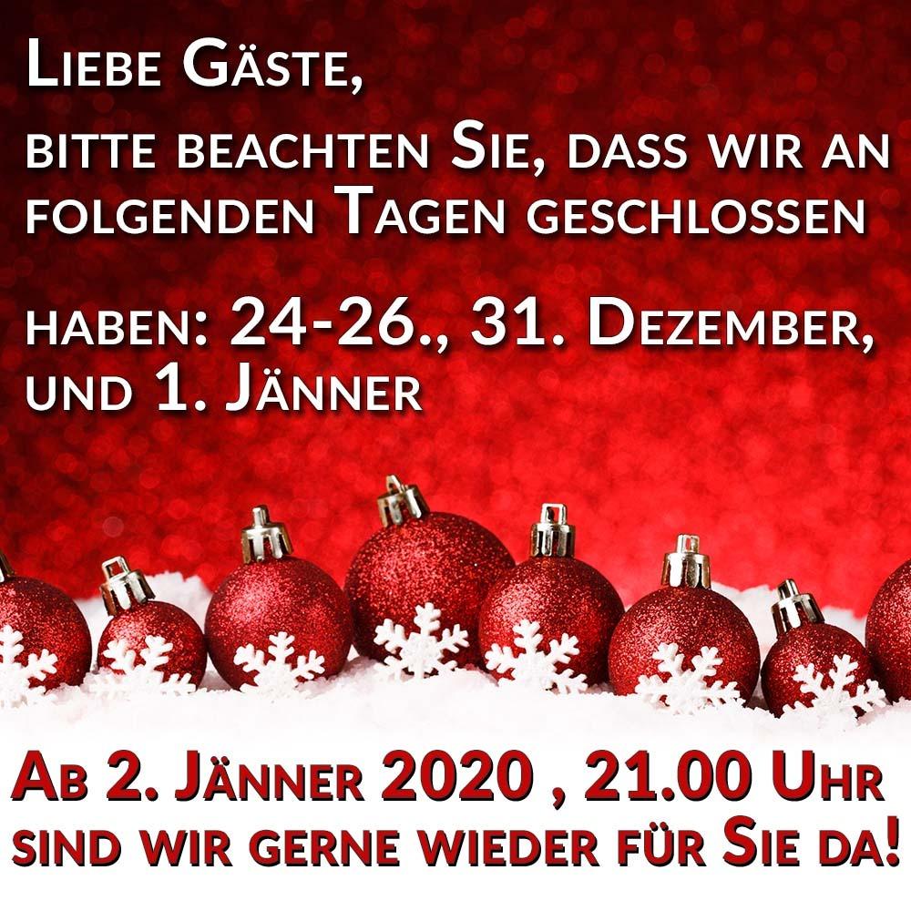 Sexclub Wien Maxim ist vom 24.12. bis 26.12. sowie am 31.12. und 01.01.2020 geschlossen. Sonst sind wir immer für Sie da!