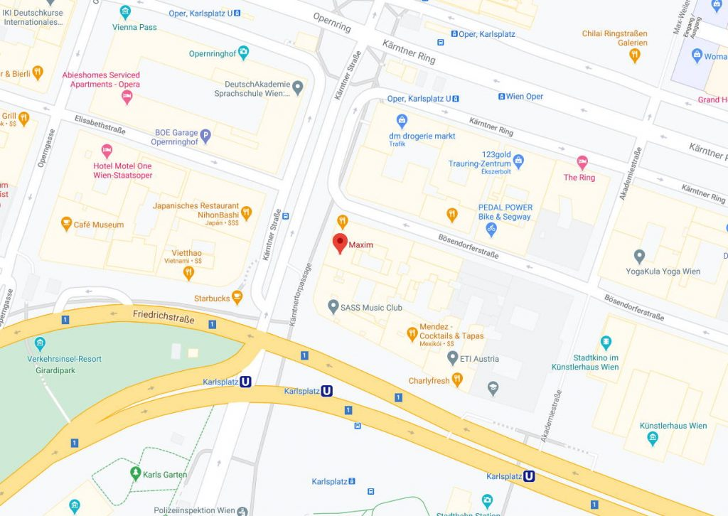map of Sex Club Maxim Wien at Kartnerstrasse 61 Vienna Austria