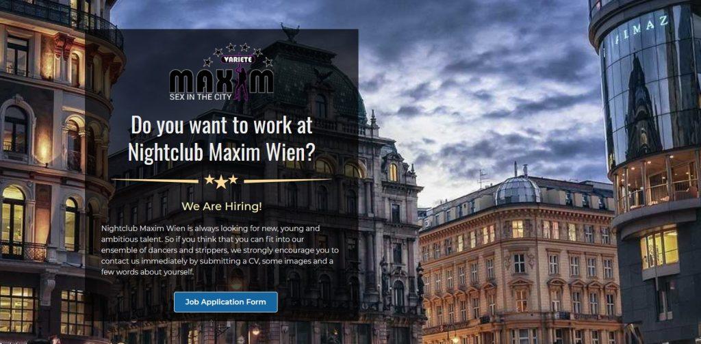 Maxim sex club Wien - jobs page header