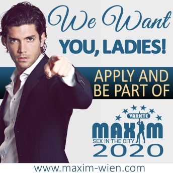 We want you ladies banner of Puff Maxim Wien