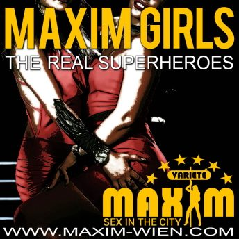Superheroes banner of Sex club Maxim Wien